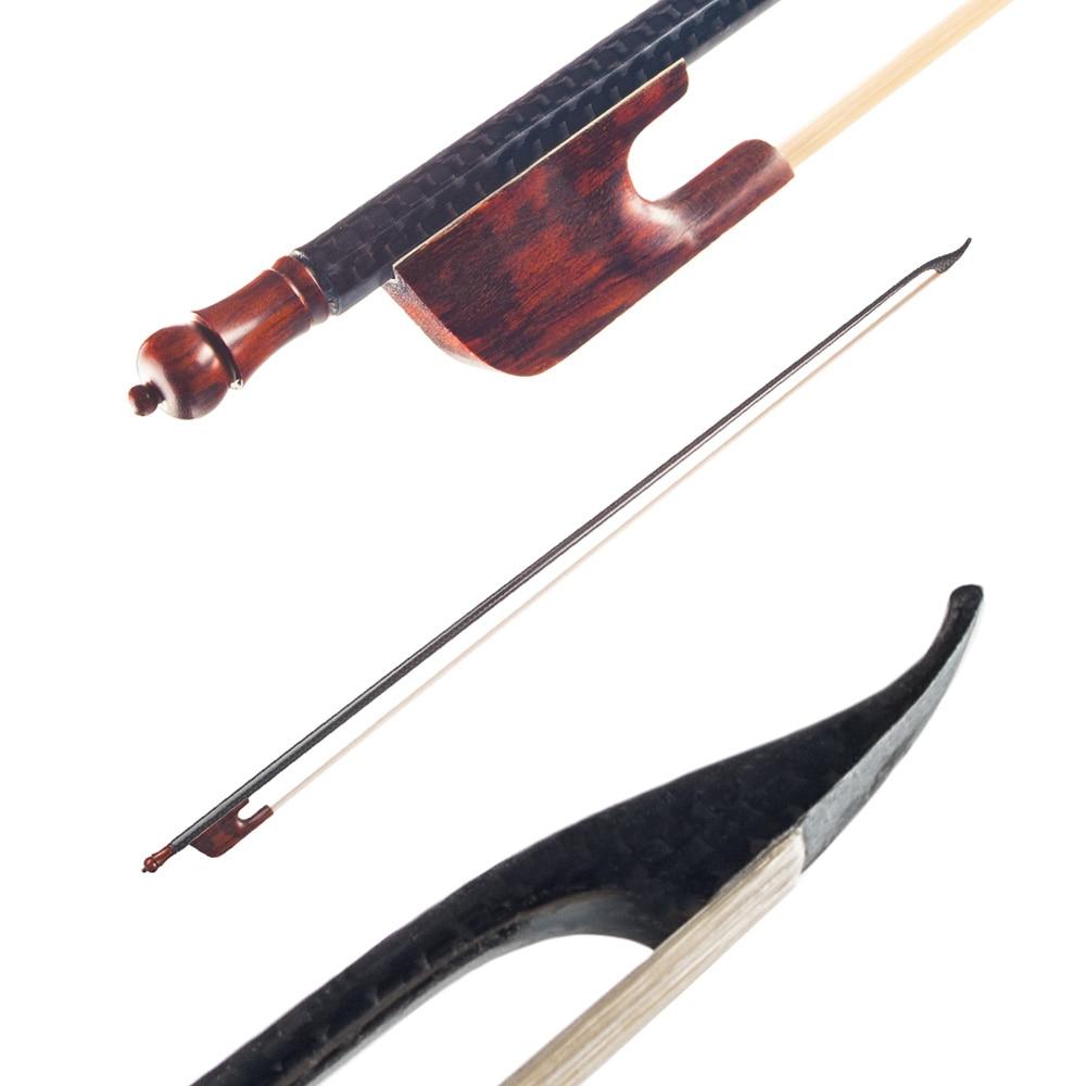 4/4 violon violon archet Style Baroque en Fiber de carbone placage bâton rond ébène grenouille blanc crin de cheval bien équilibré