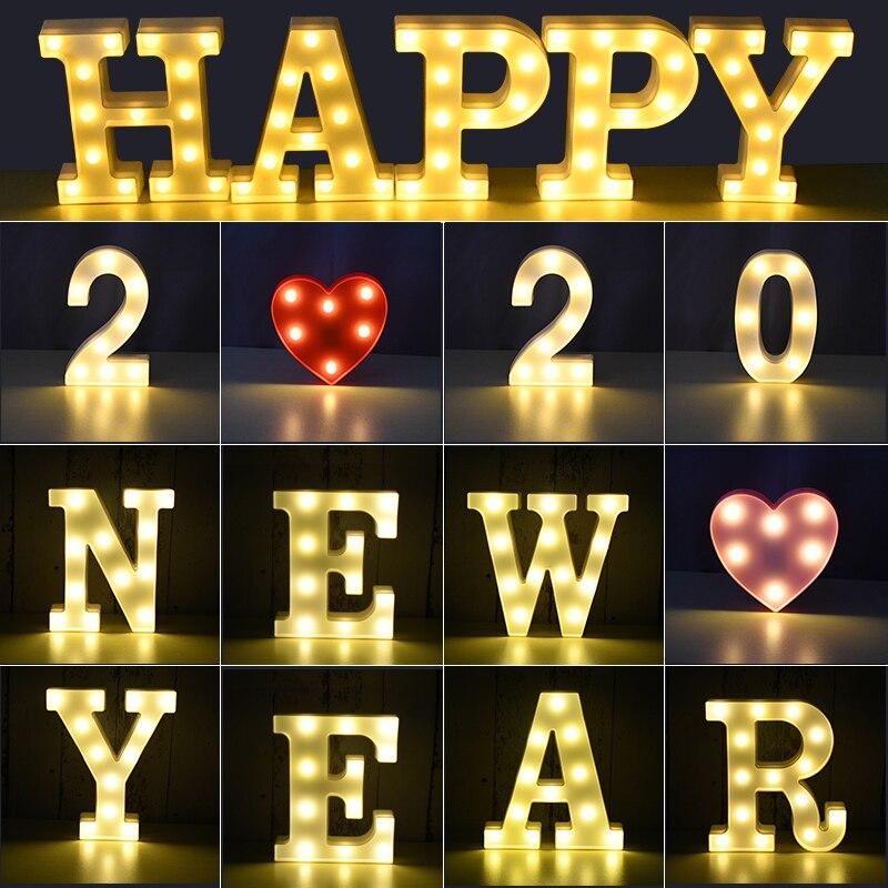 Luminous 26 English Alphabet Shiny LED Night Lamp 0-9 Digital Creative LED Night Light New Years Wedding Party Letter Decoration