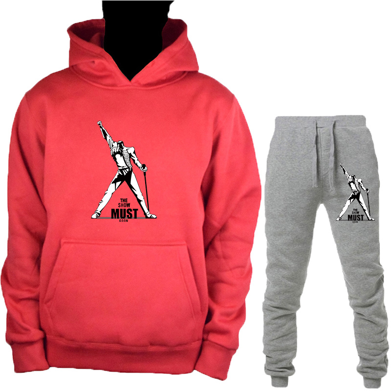 Men's Freddie Mercury Brand Hoodies Girl Summer Harajuku Woman Fashion The Queen Band Printed Hooded Sweatshirt+trousers Suit