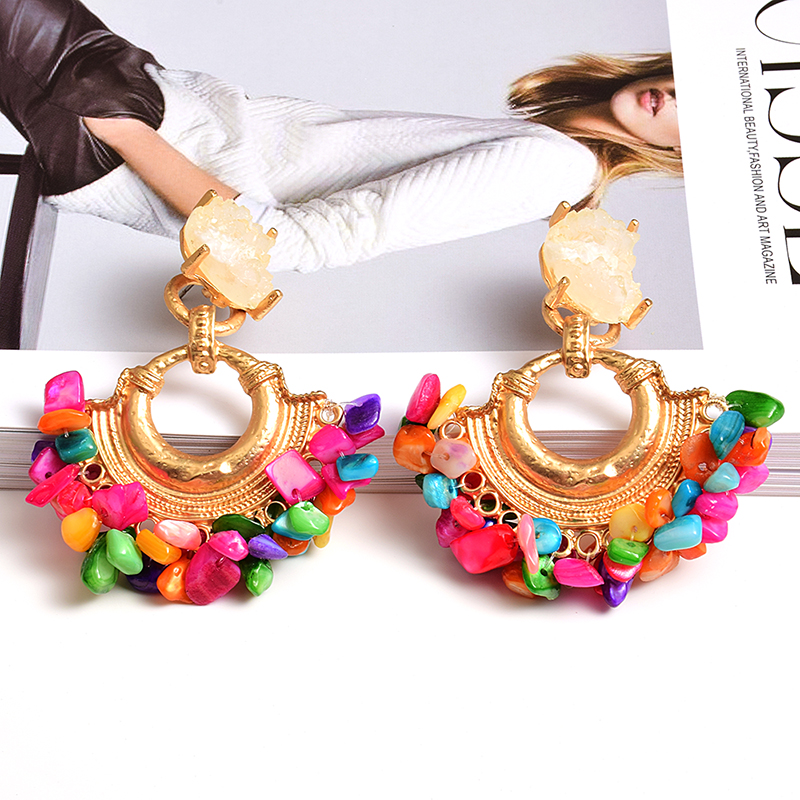 Wholesale Bohemian Vintage Handmade Hanging Colorful Rhinestone Dangle Metal Drop Earrings Jewelry Accessories For Women