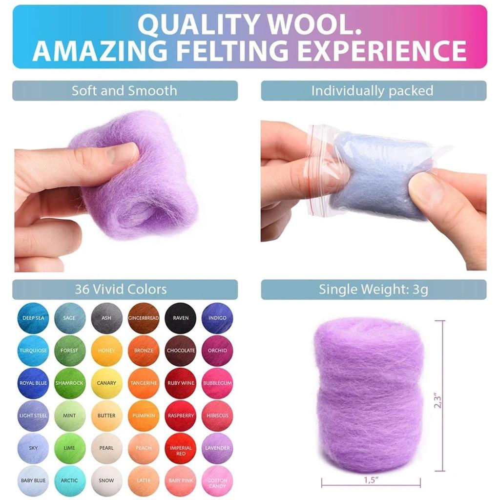 Needle Felting Starter Kit 36 Colors Felting Wool Set Roving Fibre Wool Yarn For Needle Felting Hand Spinning