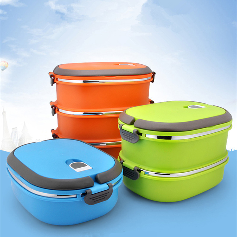 Stainless Steel Rectangular Multi-layered Box Student Double-layer Insulation Preservation Box Children's Lunch Box