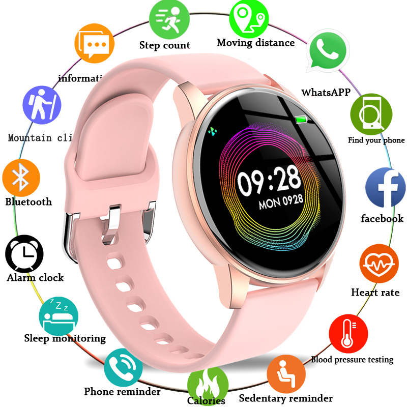 LIGE Fashion Sports Smart Watch Women Men Fitness tracker Heart rate monitor Blood pressure function smartwatch man For iPhone