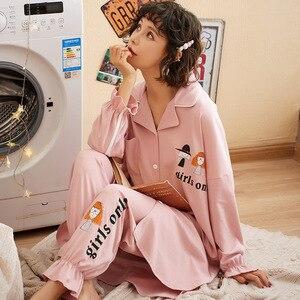 Image 2 - New Autumn Winter Sleepwear 2 Piece Sets For Womens Cotton Pajamas Turn down Collar Homewear Large Size 3XL Pijama Soft Pyjama