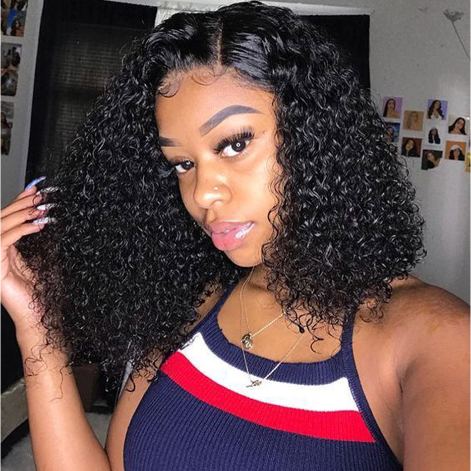 Curly Bob Wig Human Hair Short Curly Lace Front Human Hair Bob Wigs Pre Plucked Lace Frontal Wig 150% Brazilian Remy Hair Wigs
