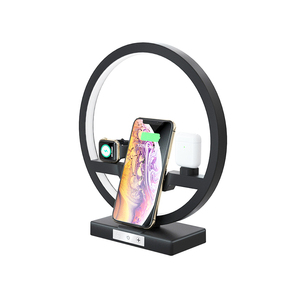 Image 2 - Qi Wireless Charger Fast Charging for iPhone 11 Charger Station for iWatch 2 3 4 5 for Airpods Phone Stand Holder with LED Lamp