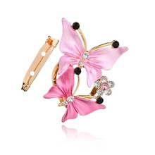 Gariton Luxurious Gold Color Crystal Butterfly Scarf Clip Rhinestone Brooches For Women Pin Wedding