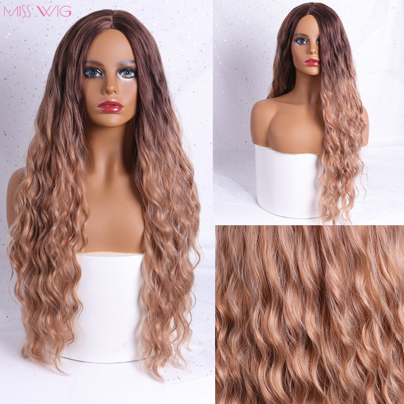 MISS WIG Blue Black Color Long Kinky Curly Hairstyle Wigs For Women Synthetic Hair High Temperature Fiber Average Size