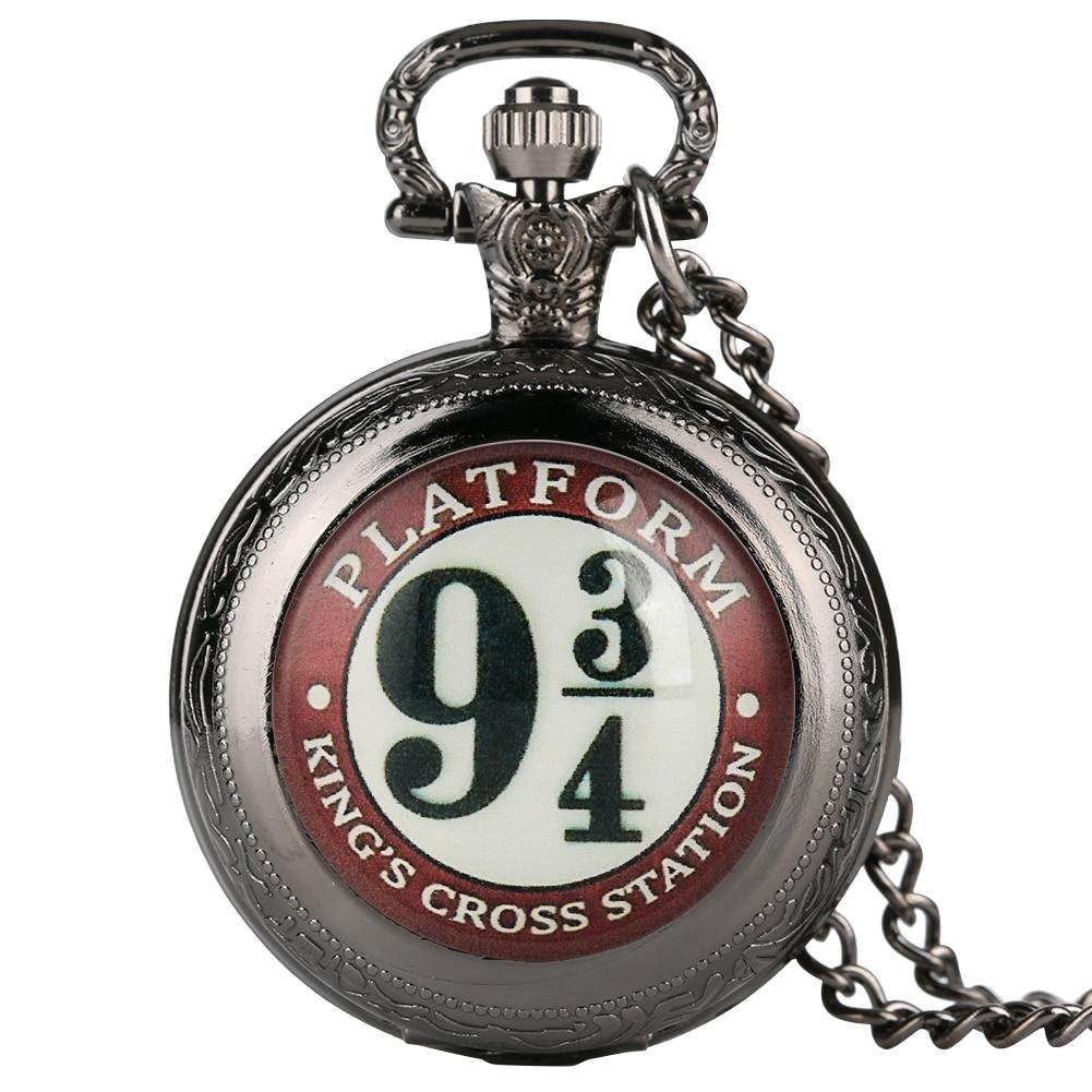 Harry Accessory 9 3/4 Pattern Quartz Pocket Watch For Men Delicate Pendant Women Slim Chain Necklace Zegarek Kieszonkowy