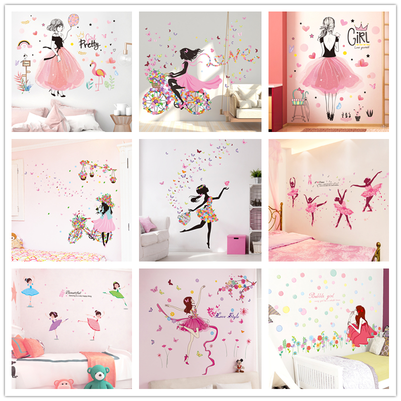 [shijuekongjian] Fairy Girl Wall Stickers DIY Butterflies Flowers Mural Decals For House Kids Room Baby Bedroom Decoration