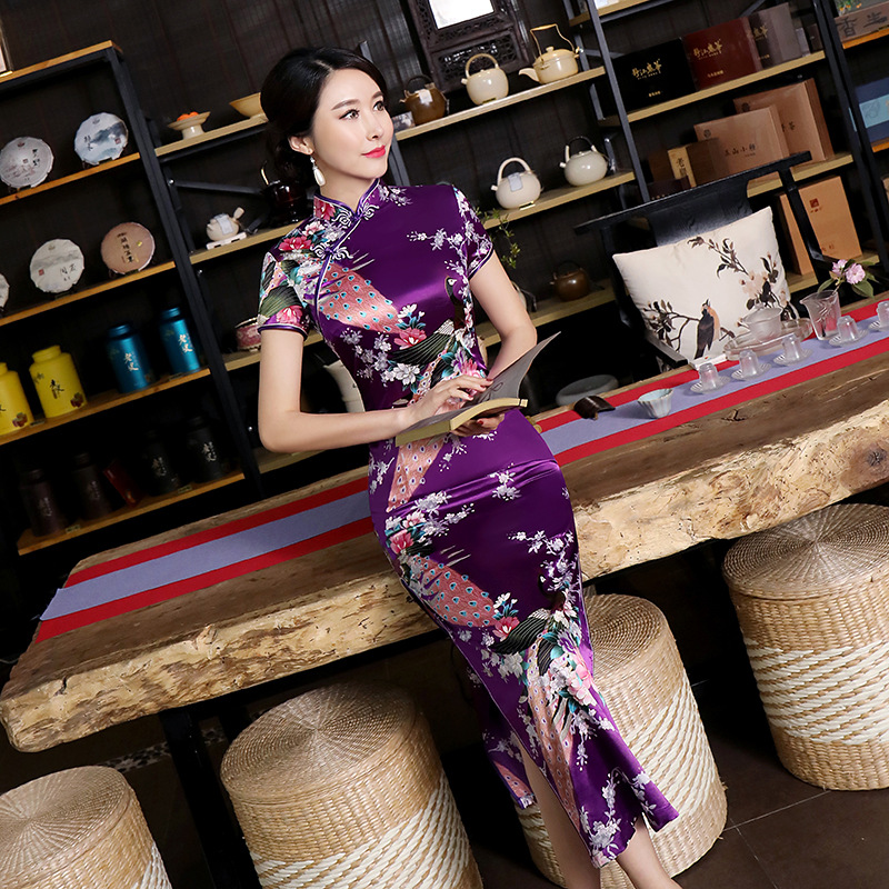 Sexy Purple Women Satin Daily Casual Dress Summer New Long Qipao Print Flower Chinese Cheongsam Size S M L XL XXL 3XL 0162