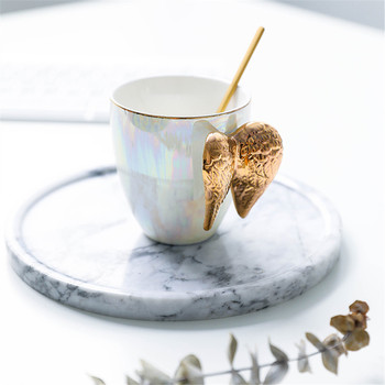 Luxury Ceramic Cup Gold Plated Creative Cup Coffee Breakfast Milk Drink Tea Mug Great Gift with Angel Wings Handle  Bb50