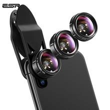Объективы 3 в 1 ESR для телефона, широкоугольный объектив 15x с клипсой для макросъемки «рыбий глаз», угол 120 градусов, 195 градусов, подходит для всех комплектов камер