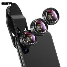 ESR Phone Len lente de ojo de pez, 3 en 1/lote, 120 grados, gran angular, 15x, Macro, 195 grados, con Clip, para todos los Kits de cámara, lente de teléfono