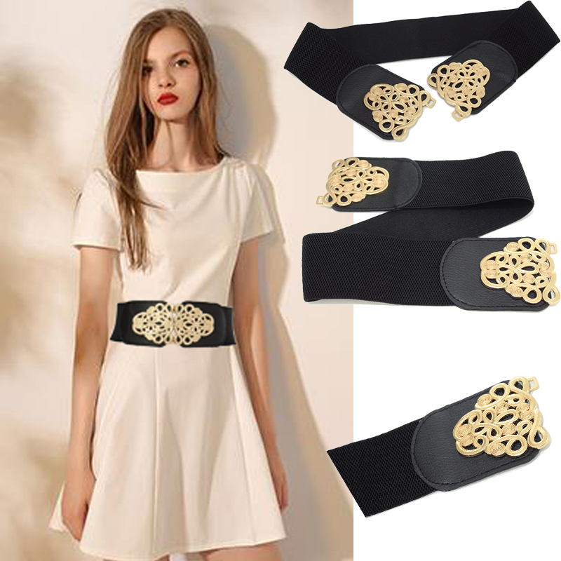 Luxury Brand 2020 New Fashion New Women's Flower Double Button Waist Dress Elastic Decorative Belt Bg-1621