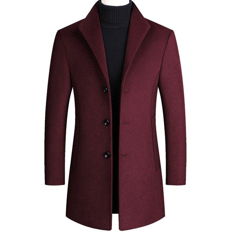 Winter Middle-aged Men's Tweed Coat And Cotton Tweed Coat Men's Coat Long Thick Windbreaker Men's Black Tweed Coat Burgundy Coat