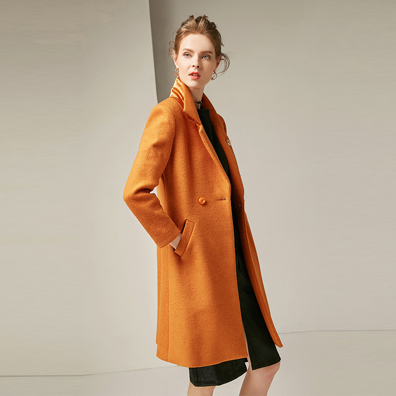 2019 Autumn Women 39 s New Solid Color Lapel Long Sleeves Slim Mid Length Orange Single Breasted Thick Warm Coat Jacket in Wool amp Blends from Women 39 s Clothing