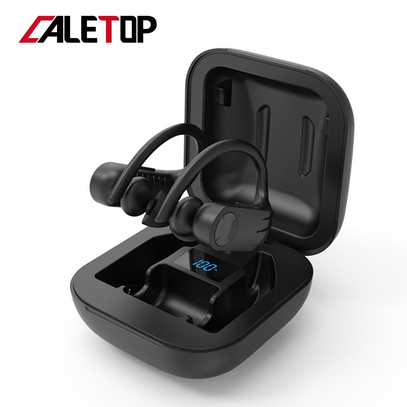 Caletop TWS CVC8.0 Noise Reduction Sports Wireless Headphones IPX5 Waterproof Bluetooth Earphones With Ear Hook Running Headsets