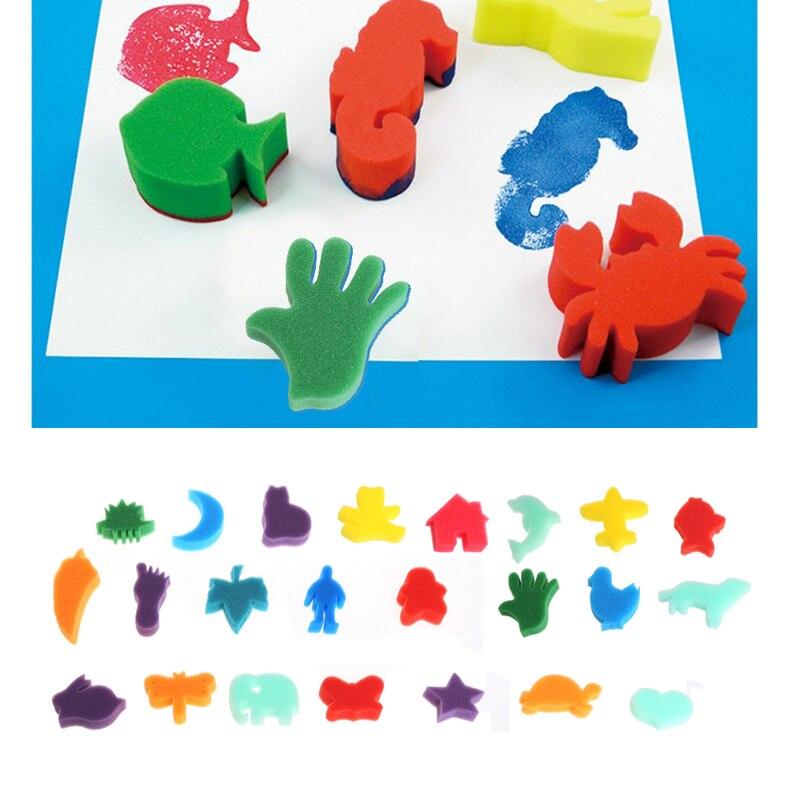 24Pcs Sponge Set Children Kids Art Craft Painting DIY Toy Home Education School  LX9A