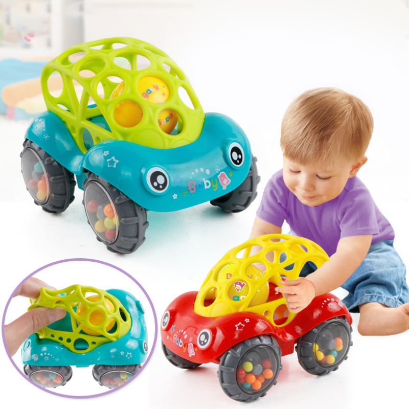 Baby Handbell Toy Colorful Plastic Non-toxic Rattles Toys Jingle Shaking Bell Music Handbell Car Toys For Kids Animals Shape Car