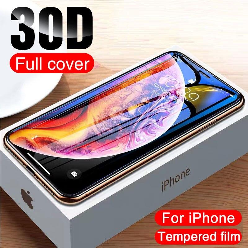 Vidro de proteção 30d no para o iphone x xs max xr temperado protetor de tela borda curvada 11 12 pro xs max vidro de cobertura completa