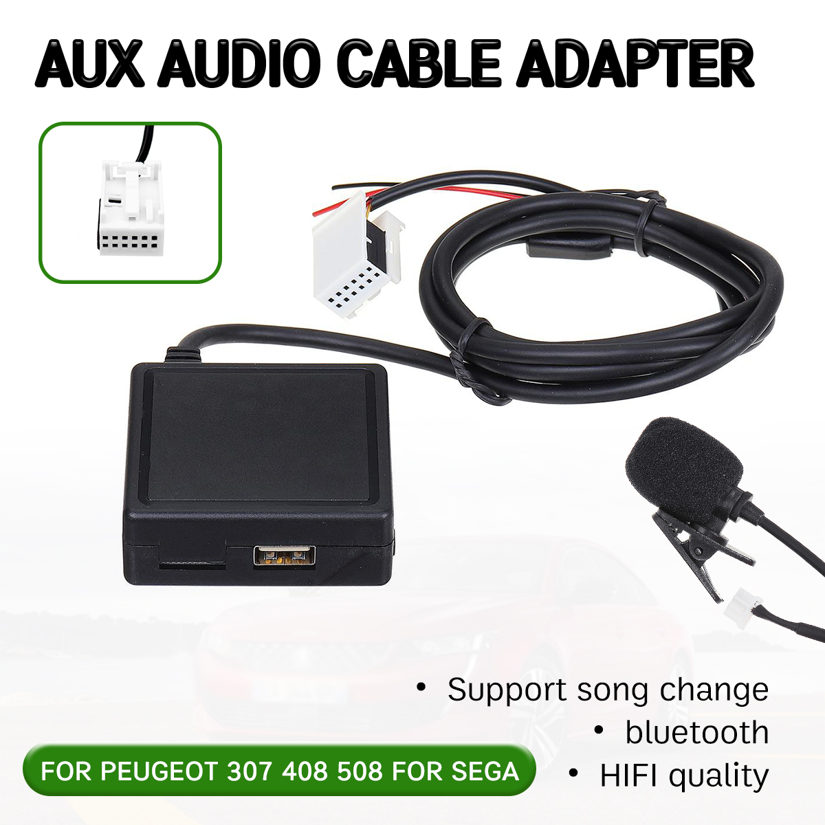 bluetooth Aux Receiver Cable with USBmicrophone Hands-free Aux Adapter For Peugeot 207 307 407 308 For Citroen C2 C3 RD4