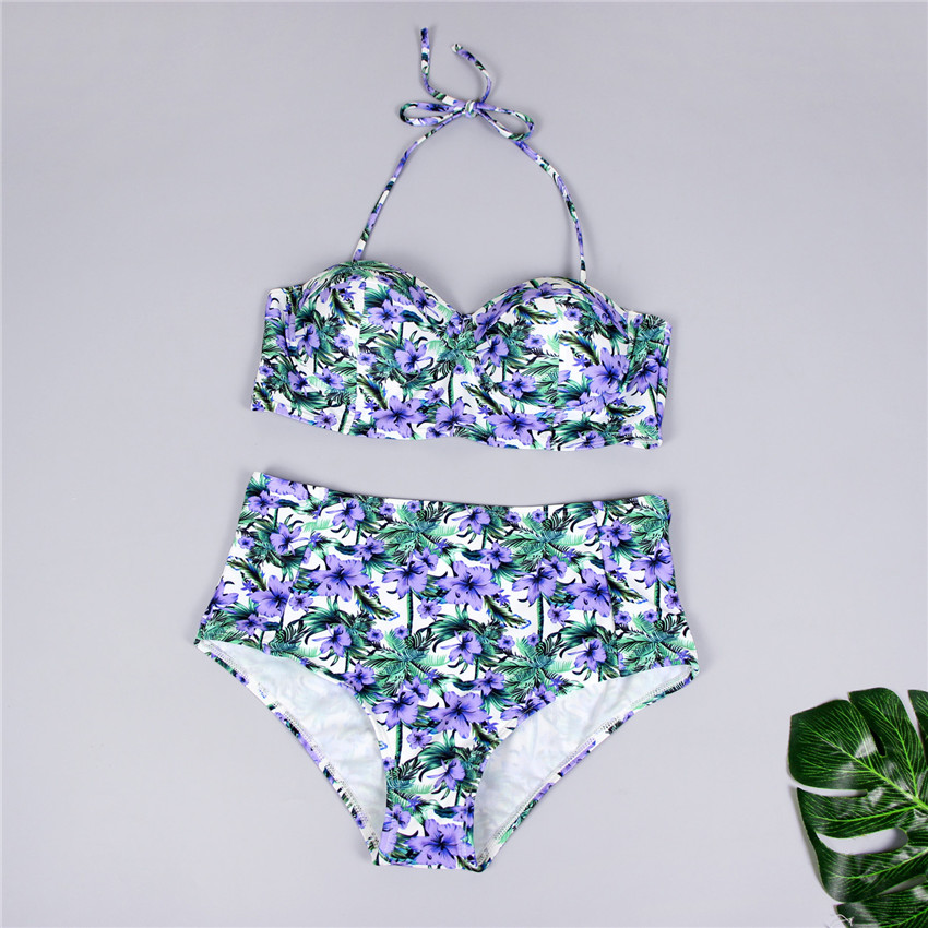 H5686ccce104e426390b90b7182d895bbW Bikini Push up 2019 Sexy Women Swimsuit Striped Patchwork Plus Size Swimwear Female Bandage Biquini Bathing suit Women