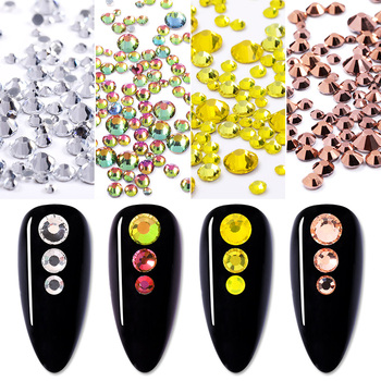 400PCS 3D Crystal Rhinestones Gold Sliver Color Nail Art Decorations Mix Sizes DIY Flatback Glass Rhinestones Design For Nails image