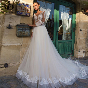 SoDigne Country Wedding Dresses Lace Appliques Long Sleeve Princess Bridal Dress Vintage Gowns Plus Size