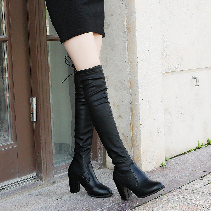 Elastic Band Square Heel High  Over-the-Knee Long Boots for Women Round Toe Solid Autumn Winter Boots PU Fashion Shoes