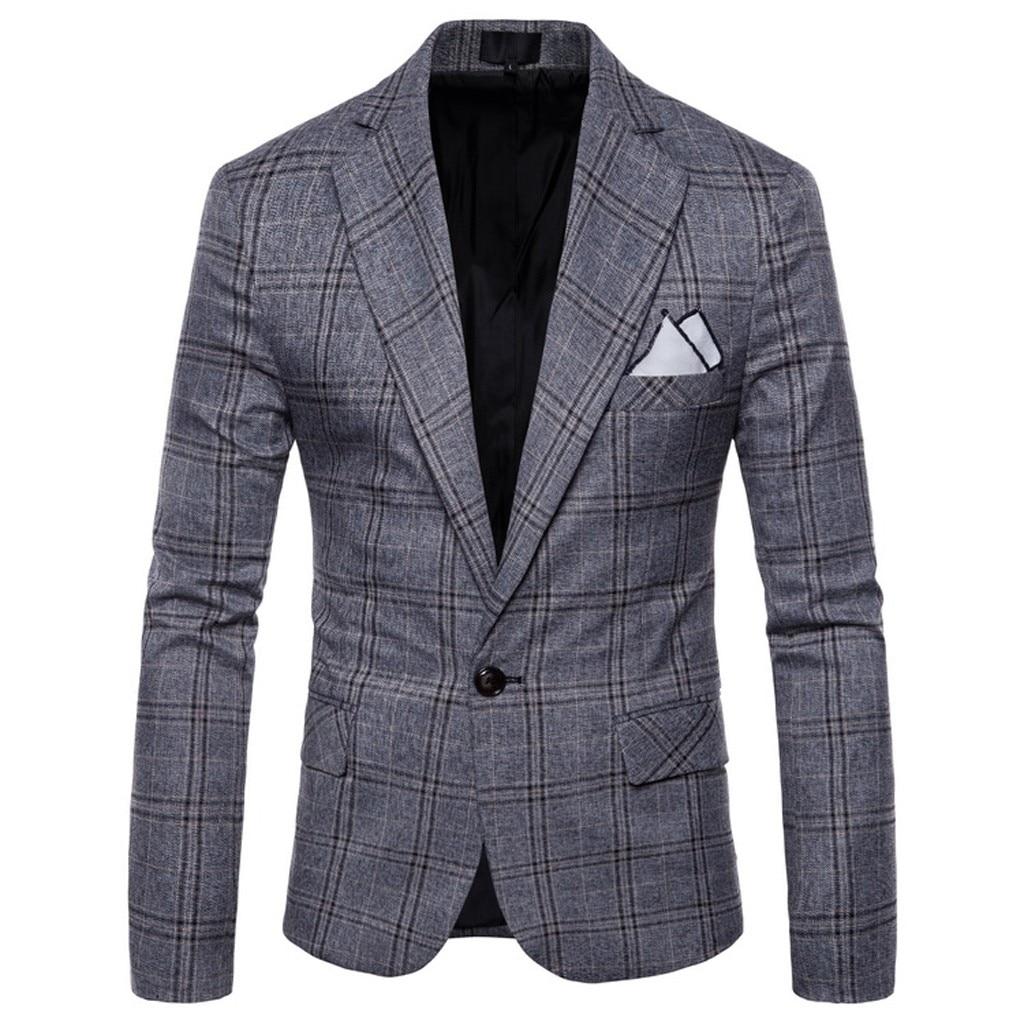 Men Blazer Winter Casual Plaid Business Wedding Suit Lapel Slim Fit Outwear Coat M-4XL Plus Size Blazer Masculino мужской пиджак