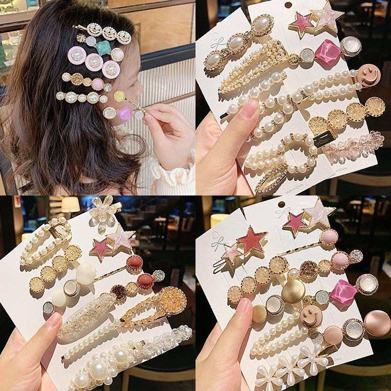 1Set Women Girls Sweet Beautiful Geometric Hairpins Cute Hair Ornament Headband Hair Clips Barrettes Fashion Hair Accessories