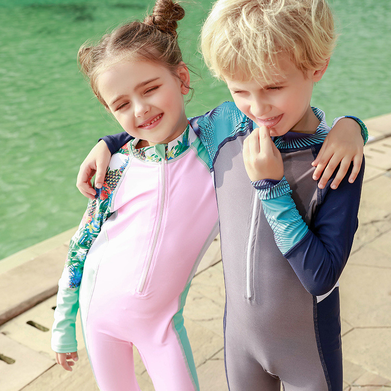 One-piece Swimsuit For Children GIRL'S Long Sleeve Cute Quick-Dry Baby Men's Big Boy Diving Suit Hot Springs Swimwear