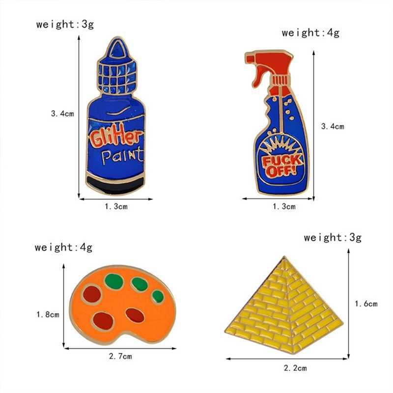 Śmieszne toaleta kwiat MASZYNA DO SZYCIA paleta piramidy farby ręcznie narzędzia broszka przycisk Pin kurtka dżinsowa emaliowana przypinka prezent biżuteria