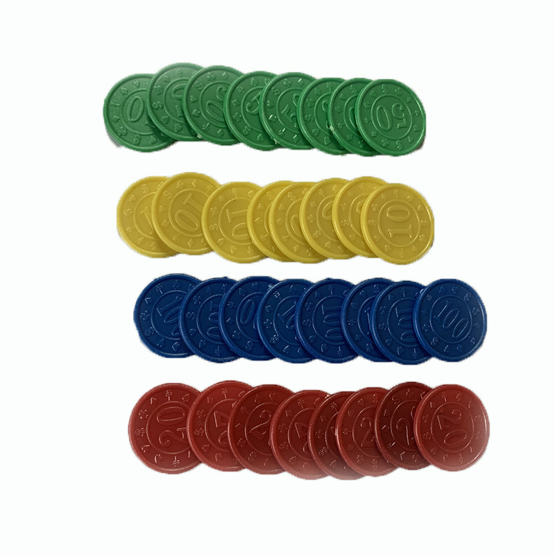 32 Pcs/set Poker Chips Plastic Round 10/20/50/100 Value Coins Children Education Wholesale