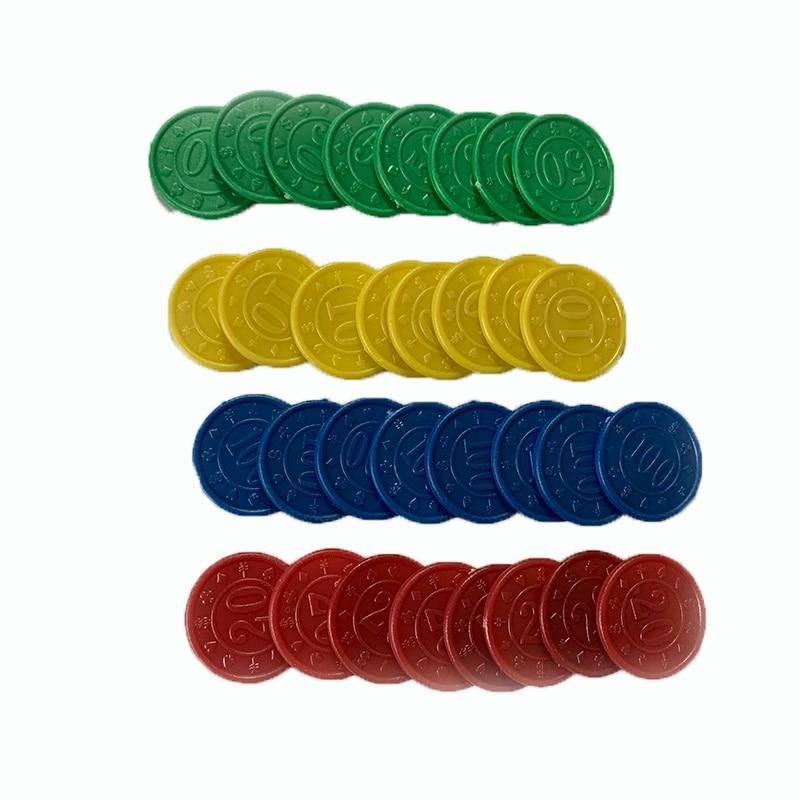 32 Pcs/set Poker Chips Plastic Round 10/20/50/100 Value Coins Children Education Wholesale