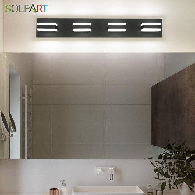 Modern Black Bathroom Vanity Lights Over Mirror 4 Lights Acrylic Bath Wall Lighting 4