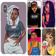 Queen Rock Afro Black Girl Magic Melanine Poppin Prinses silicone Cover Case Voor iPhone X SE 5 5s 6 6sPlus 7 8 Plus XS XR XS MAX(China)