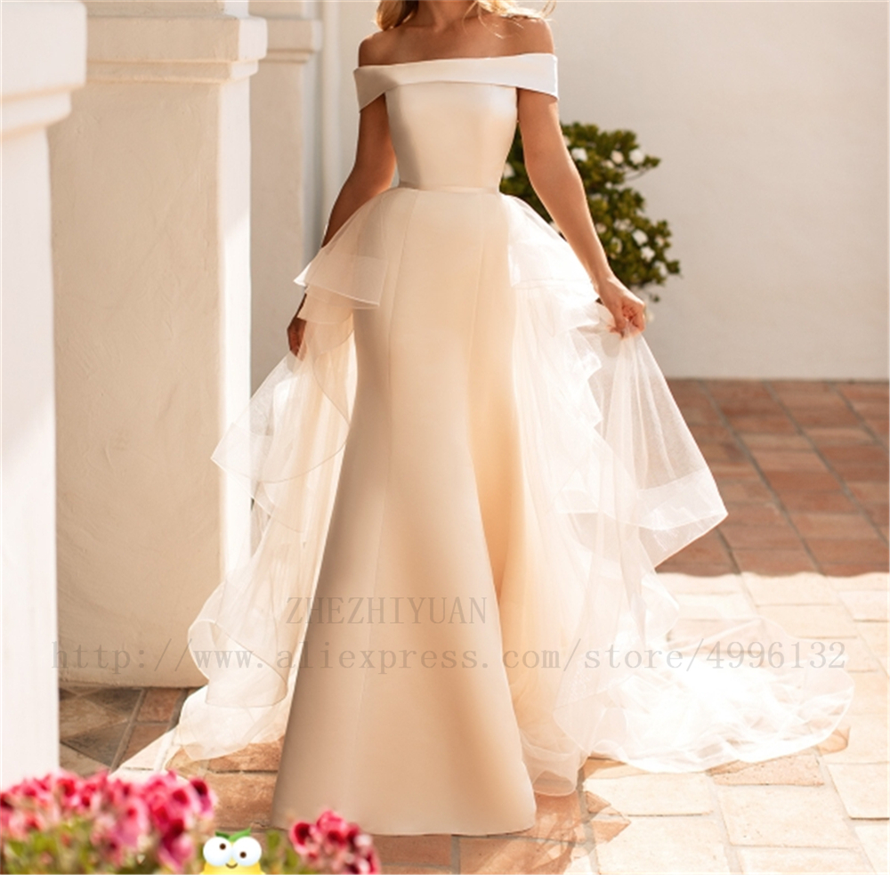 Vintage Ivory Sash Handworks Dropped Sheath Wedding Dress Boat Neck Court Train Satin And Tulle Ruched Custom-made Wedding Gowns