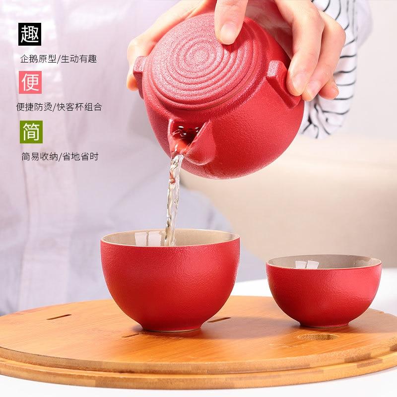 Креативная черная керамика Экспресс чашка, один горшок и две чашки Портативный Путешествия керамический чайный сервиз офис подарок