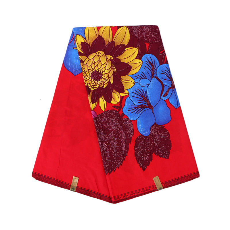 Veritable Guarantee Real Dutch Wax Colorful Flowers Red Fabric 100% Polyester Pagnes Africain Wax 6Yards\set