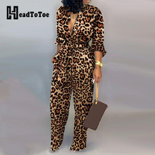 Leopard Tied Waist Long Sleeve Jumpsuit Women Rompers Fashion One Piece Overalls