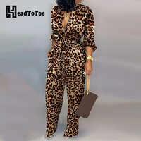 Leopard wiązana w talii kombinezon z długim rękawem kombinezony damskie moda kombinezony jednoczęściowe kombinezony jednoczęściowe na co dzień Streetwear Dropshipping