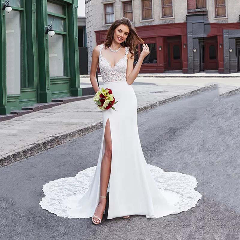 Eightree High Split Wedding Dress Satin Lace Mid-drif Straps Mermaid Wedding Gowns Deep V Neck Vestido De Noiva Chapel Train