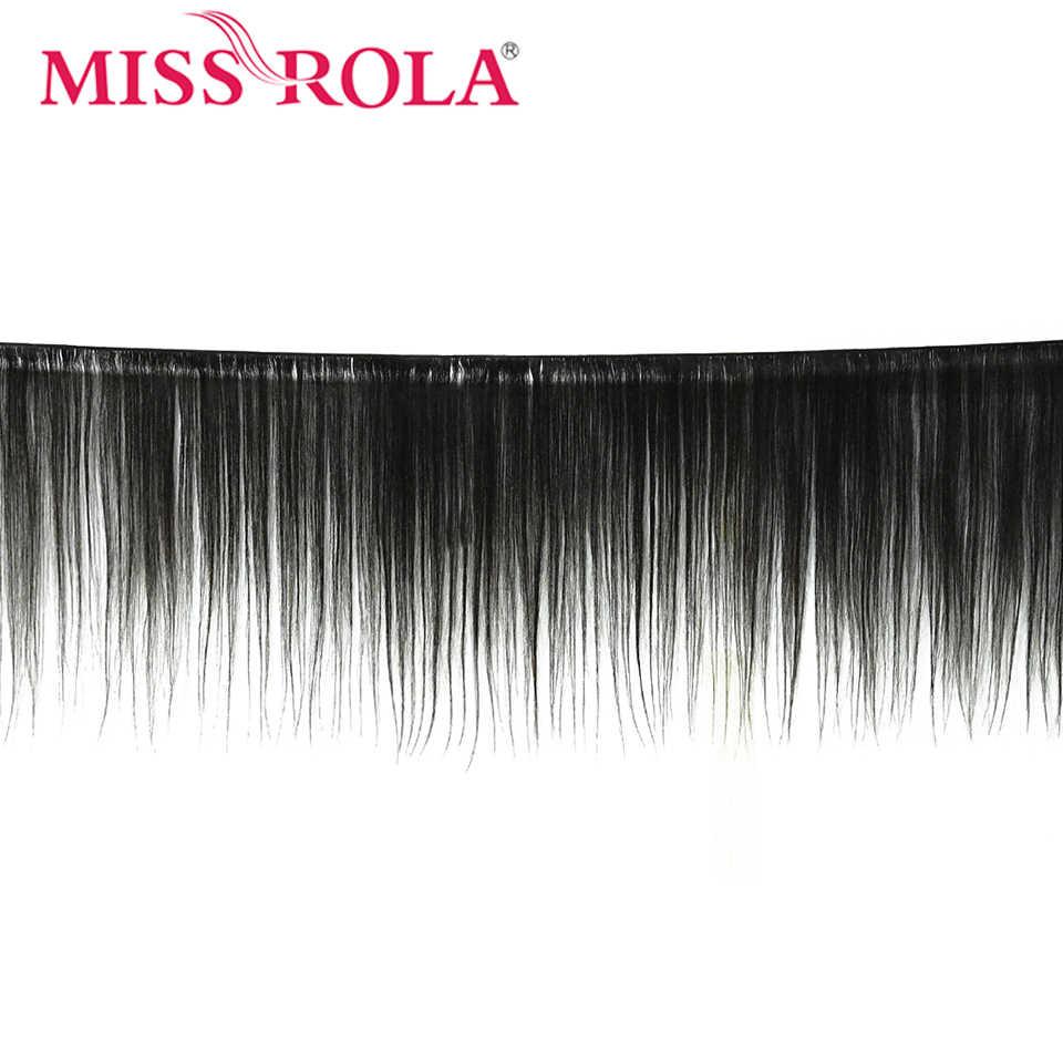 Miss Rola Hair Straight Peruaanse Haar Bundels Met Sluiting 100% Menselijk Haar Natuurlijke Kleur Non-Remy Haar 3 Bundels met 4*4 Sluiting
