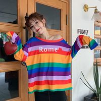 T Shirts Spring Autumn Women Rainbow Striped T Shirt Oversize Loose Base Casual Long Sleeve Korean Style O Neck Tees Tops