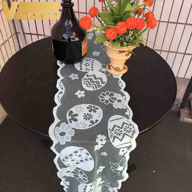 Lace Easter Eggs Table Runner Tablecloth Placemat Decoration Cover Table Flag Easter FloralHotel Home Festival Wedding Dinning