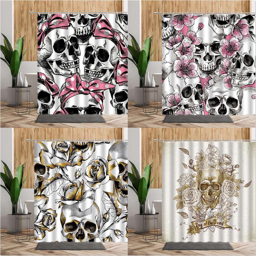 Cute Creative Shower Curtain Sugar Skull With Pink Bow Bathroom Bath Decor Waterproof Backdrop Fabric Curtains For Girls Bedroom