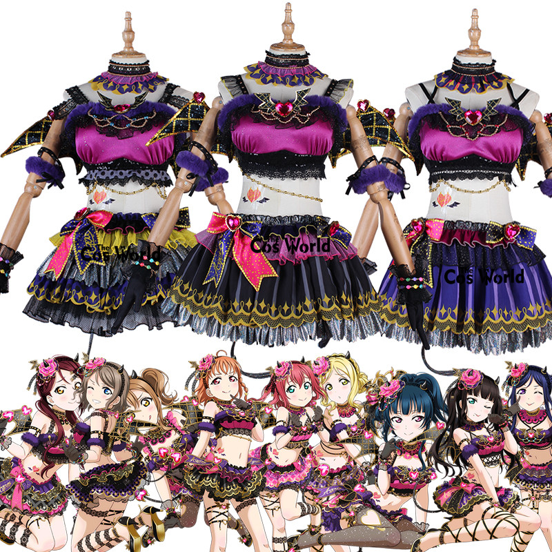 Love Live Sunshine Aqours Little Devil 9 Characters Takami Chika Riko Kurosawa Ruby Dia Hanamaru Dress Uniform Cosplay Costumes