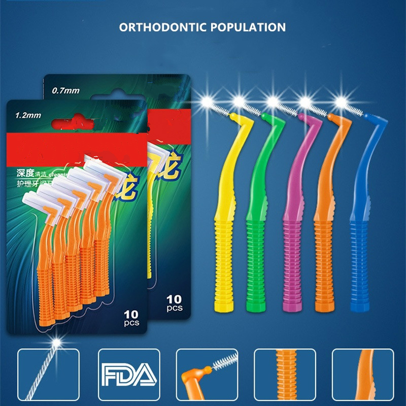 10Pcs/set L Shape Push-Pull Interdental Brush Oral Care Teeth Whitening Dental Tooth Pick Tooth Orthodontic Toothpick ToothBrush(China)